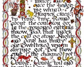 Macbeth - The Witches Chant - Illuminated Manuscript Page - Limited Edition Fine Art Print