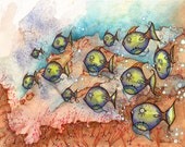 Fish Art - School of Fish - Original watercolor illustration of sealife