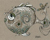 George - yes he's a pretty fish - 8.5 by 11 inch Print - Housewarming Gift