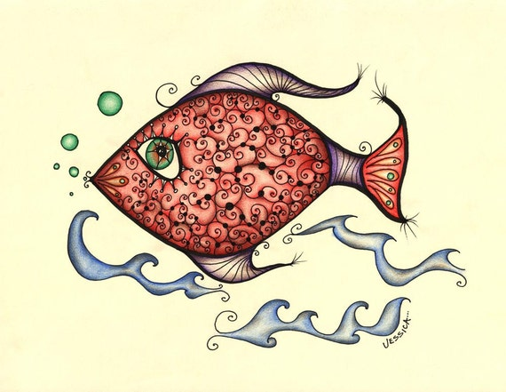 Delilah the Fish - Limited Edition Print - Fish Bathroom Wall Art - Edition of 25 only