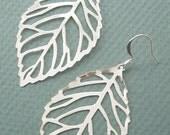 Leaf Earrings Silver Featherweight