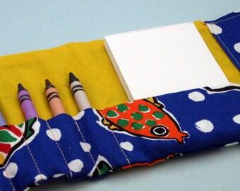 Crayon Tri-fold Wallet Blue and Yellow Cartoon Fish and Ships