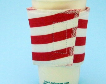 Red and White Striped Coffee Cup Cozy with Hook and Loop Closure