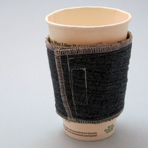 Denim Coffee Cup Cozy with Hook and Loop Closure