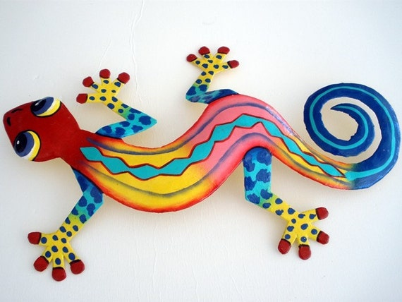 Outdoor Wall Decor Gecko : Inches colorful caribbean haiti oil drum art gecko wall