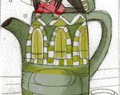 My love for Tea  ACEO original
