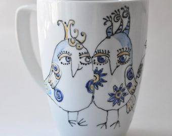 Blue Birds of Happiness handpainted porcelain mug