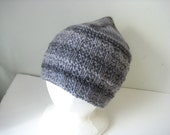 gray striped knit wool hat - beaconknits