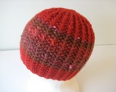 hand knit red wool and silk hat - beaconknits