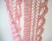 hand knit lacy pink mohair and silk scarf - beaconknits