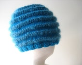 turquoise blue knit hat with mohair - beaconknits