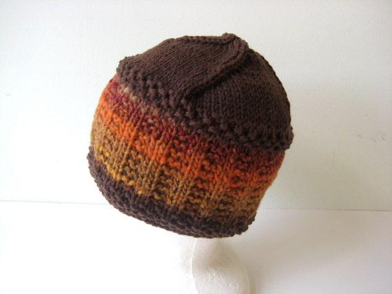 knit brown and orange wool hat