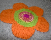 hand knitted flower wash cloth