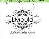 Swirl Wedding Gift Return Address Custom Rubber Stamp 0124 (red rubber stamp wooden block)