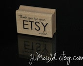 Ready to Ship Thank you for your ETSY Order Red Rubber Stamp Mounted on a Wooden Block