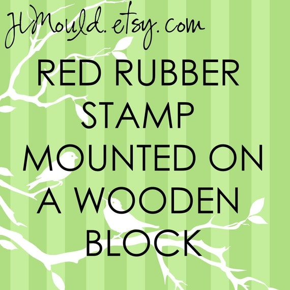 JLMould 2x2 Custom Rubber Stamp Mounted on Wooden Block using your Art or Logo (Red Rubber)
