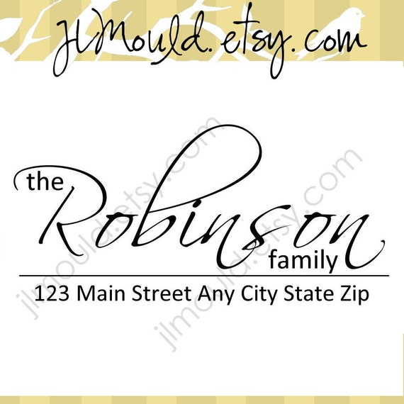 Wedding Bride and Groom Gift Family Custom Return Address Clear Rubber Stamp 0009 (self inking)