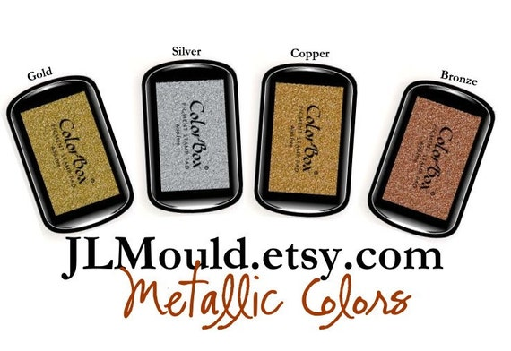 JLMould Color Box Pigment Stamp Ink Pad - You Choose the Color (gold silver copper bronze)
