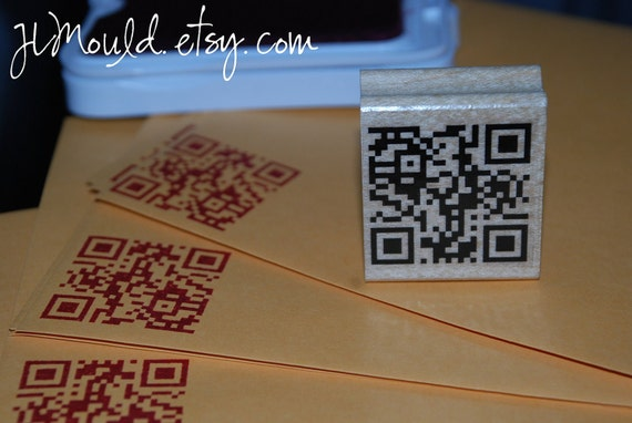 Smaller Size 2x2 Custom Red Rubber Stamp etsy business include your QR two dimensional barcode 0160 (red rubber stamp wooden block)