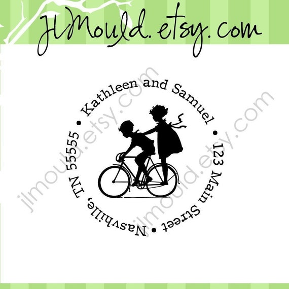True Love with Bike Wedding Gift Return Address Custom Rubber Stamp 0033 (red rubber stamp wooden block)