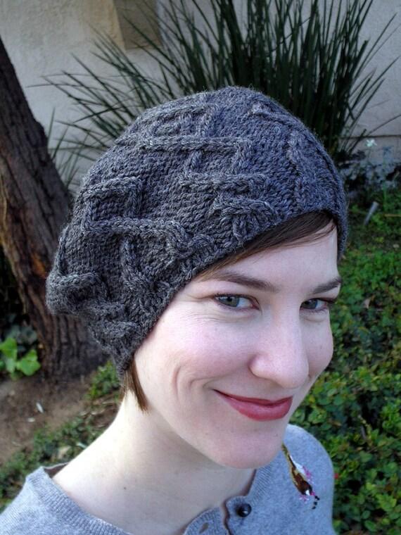 Cable Beret Knitting Pattern : PDF Knitting Pattern Argyle Cabled Beret by Azalea820 on Etsy
