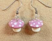 Pink and white polkadot mushroom earrings