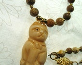Carved Bone Bead Cat Necklace with Picture Jasper Beads