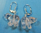 Clear Quartz Polar Bear Stone Earrings with Leverback Earwires