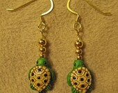 Tiny Detailed Ceramic Green Sea Turtle Dangle Earrings with Gold Plated Beads