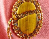 Tigers Eye Stone Cabachon Divided Beautifully Bead Embroidered Golden Brown Necklace