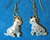 Dalmations Enameled Brass Spotted White Dogs Dangle Earrings Lightweight