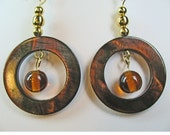 Swinging Brown Shell Donut Dangle Earrings with Brown Glass Beads Inside
