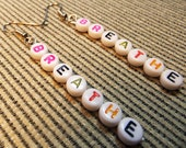 BREATHE Verticle Dangle EARRINGS Handcrafted with colorful acrylic letter beads