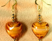Amber Colored Glass Hearts Beaded Dangle Earrings with Gold Plated Beads