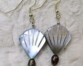 Beautiful Shell and Pearls Dangle Earrings