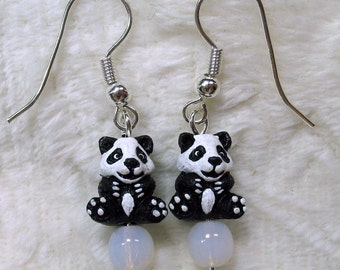 Tiny Baby Panda Bear Dangle Earrings Black and White