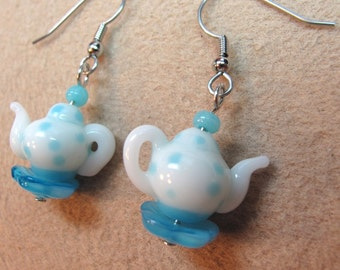 Blue and White Lampglass Teapot Dangle Earrings