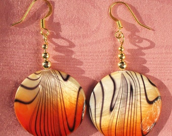 Tiger Stripes Orange Dangle Earrings