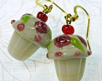 White Lampglass Cupcakes with Red Roses Dangle Earrings