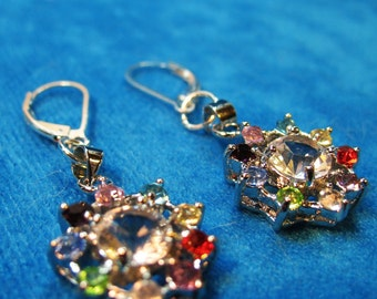Holiday Joy Sparkling Dangle Earrings with Sterling Silver Lever Earwires