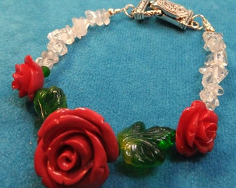 Medium Sized Red Resin Rose, Two Tiny Rose with Glass Leaves with Quartz Chips a Small Bracelet with Magnetic Clasp