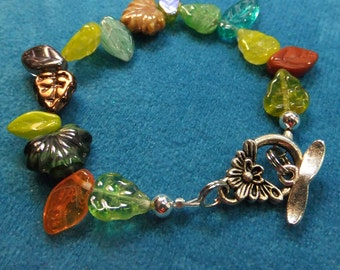 Glass Leaves Nature Bracelet for a SMALL Wrist