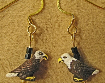 Ceramic Bald Eagle Charms Beaded Dangle Earrings