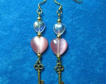 Key to my Heart Dangle Earrings Pink Acrylic Hearts and Brass Keys