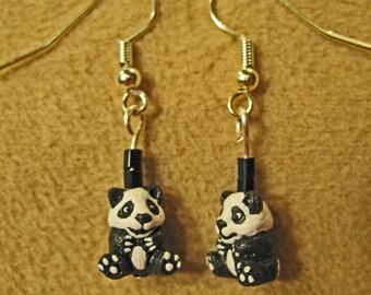 Tiny Ceramic Detailed Black and White Panda Bear Dangle Earrings