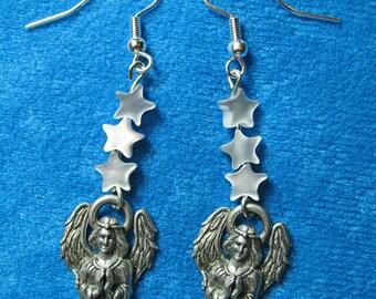 Pewter Praying Angel Charms White Star Beads Dangle Earrings