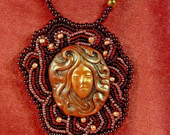 Swirling Hair Woman Bead Embroiderd Polymer Clay Face Beaded Necklace