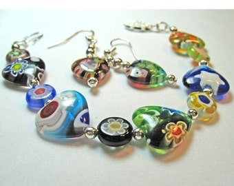 Romantic Multicolored Lamp Glass Set Bracelet and Earrings Flower Designs in Heart Beads