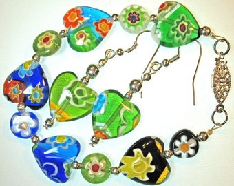 Hearts and Flowers Lamp Glass Set Bracelet and Earrings Multicolored