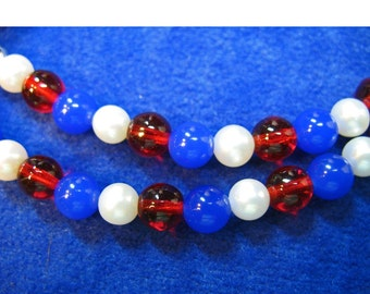 Patriotic Necklace Red White and Blue Includes Pearls, Blue Stone Beads, and Red Glass Beads